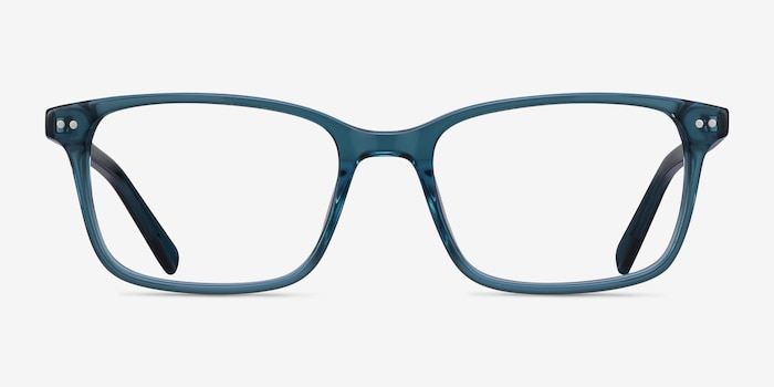 Basel Green Blue Acetate Eyeglass Frames from EyeBuyDirect, Front View