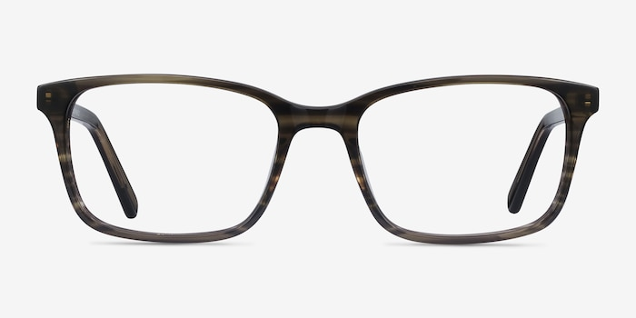 Clipperton Gray Striped Acetate Eyeglass Frames from EyeBuyDirect, Front View