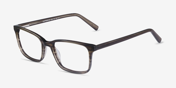 Clipperton Gray Striped Acetate Eyeglass Frames from EyeBuyDirect, Angle View