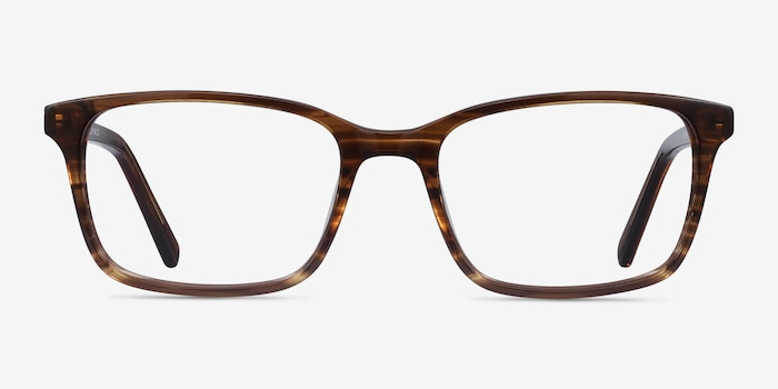 Clipperton Brown Striped Acetate Eyeglass Frames from EyeBuyDirect, Front View