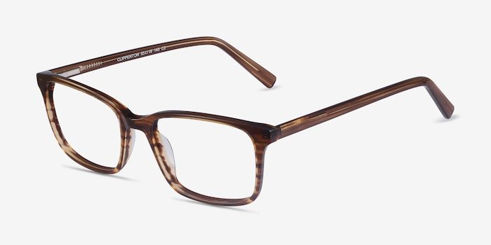 Clipperton Brown Striped Acetate Eyeglass Frames from EyeBuyDirect, Angle View