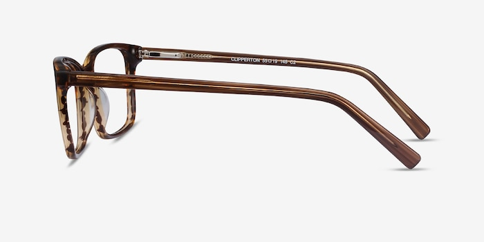 Clipperton Brown Striped Acetate Eyeglass Frames from EyeBuyDirect, Side View