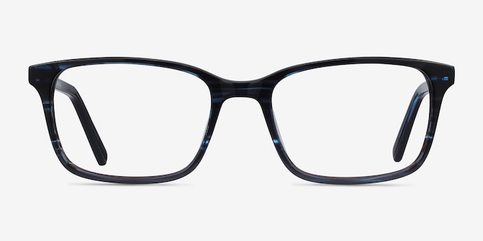 Clipperton Blue Striped Acetate Eyeglass Frames from EyeBuyDirect, Front View