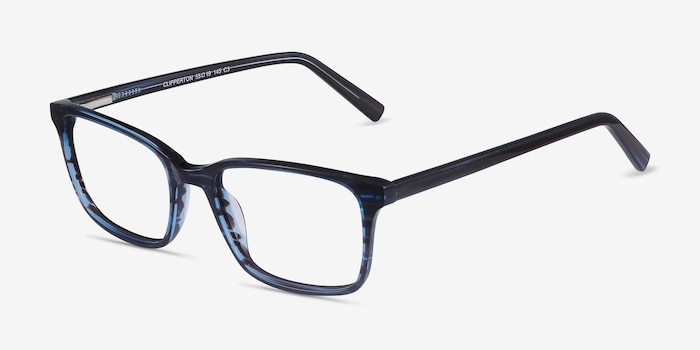 Clipperton Blue Striped Acetate Eyeglass Frames from EyeBuyDirect, Angle View