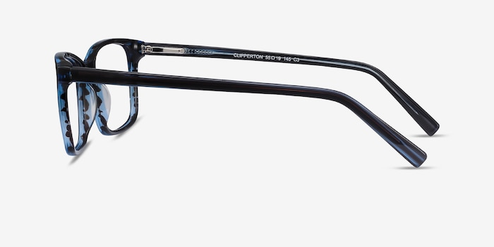 Clipperton Blue Striped Acetate Eyeglass Frames from EyeBuyDirect, Side View