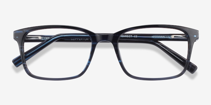 Clipperton Blue Striped Acetate Eyeglass Frames from EyeBuyDirect, Closed View