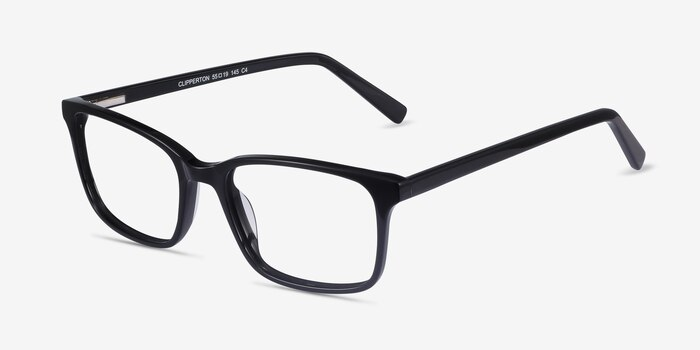 Clipperton Black Acetate Eyeglass Frames from EyeBuyDirect, Angle View
