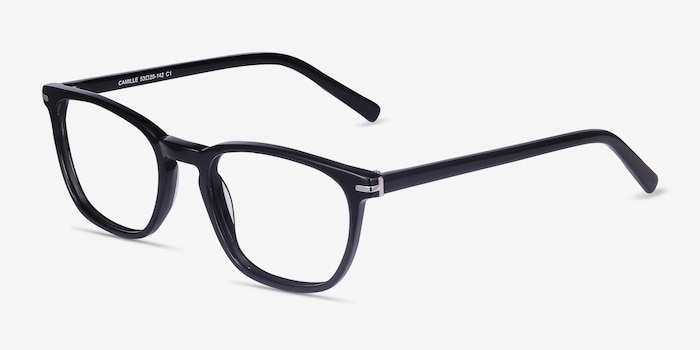 Camille Black Acetate Eyeglass Frames from EyeBuyDirect, Angle View