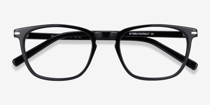 Camille Black Acetate Eyeglass Frames from EyeBuyDirect, Closed View