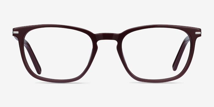 Camille Burgundy Acetate Eyeglass Frames from EyeBuyDirect, Front View