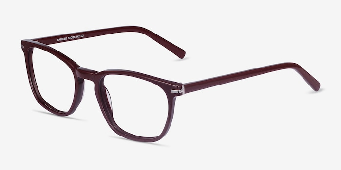 Camille Burgundy Acetate Eyeglass Frames from EyeBuyDirect, Angle View