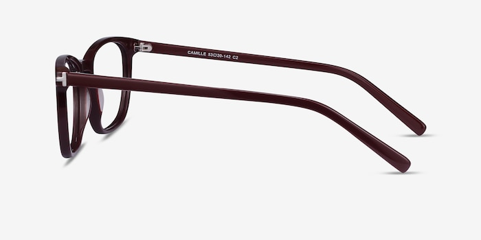 Camille Burgundy Acetate Eyeglass Frames from EyeBuyDirect, Side View