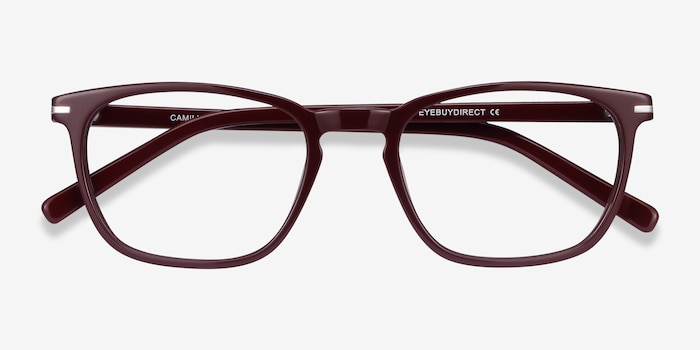 Camille Burgundy Acetate Eyeglass Frames from EyeBuyDirect, Closed View