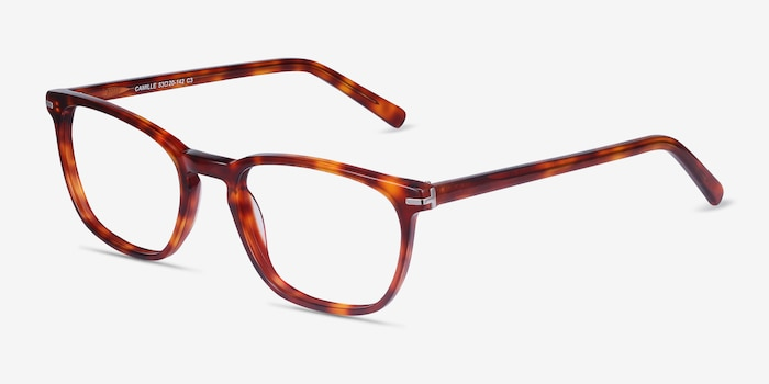 Camille Tortoise Acetate Eyeglass Frames from EyeBuyDirect, Angle View