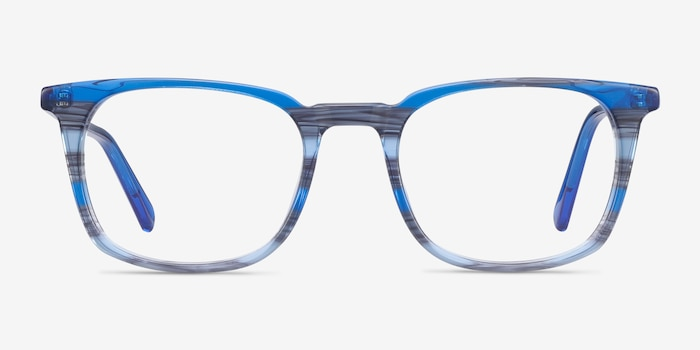 Gabor Blue Striped Acetate Eyeglass Frames from EyeBuyDirect, Front View