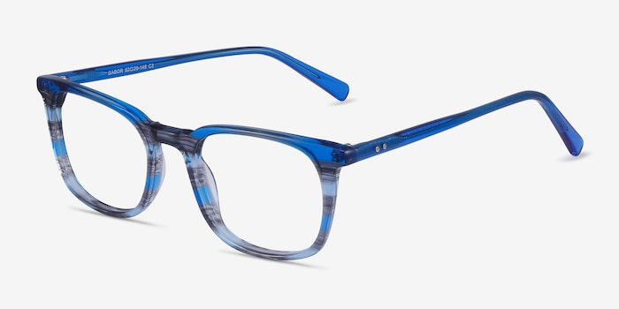 Gabor Blue Striped Acetate Eyeglass Frames from EyeBuyDirect, Angle View