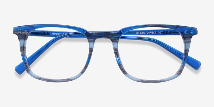 Gabor Blue Striped Acetate Eyeglass Frames from EyeBuyDirect, Closed View