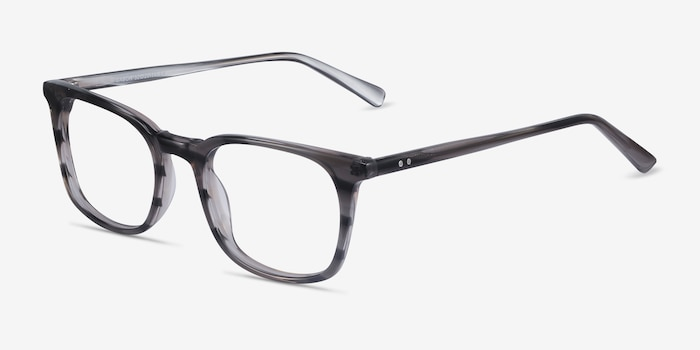 Gabor Gray Striped Acetate Eyeglass Frames from EyeBuyDirect, Angle View