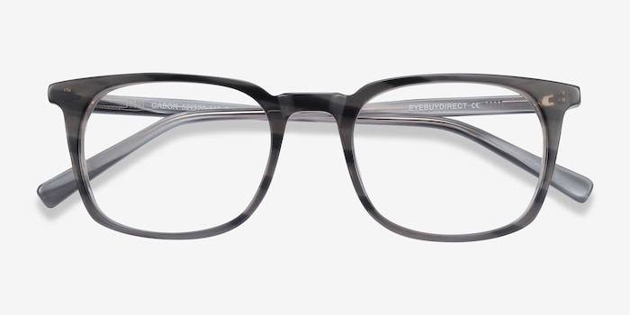 Gabor Gray Striped Acetate Eyeglass Frames from EyeBuyDirect, Closed View