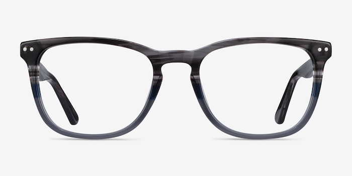 Gato Gray Striped Acetate Eyeglass Frames from EyeBuyDirect, Front View