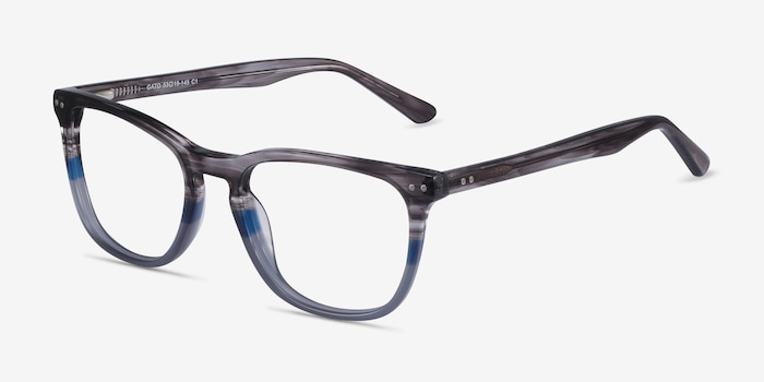Gato Gray Striped Acetate Eyeglass Frames from EyeBuyDirect, Angle View