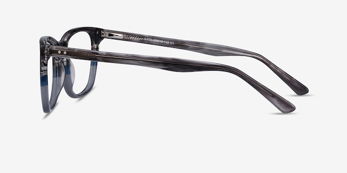 Gato Gray Striped Acetate Eyeglass Frames from EyeBuyDirect, Side View