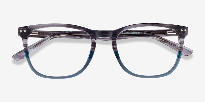 Gato Gray Striped Acetate Eyeglass Frames from EyeBuyDirect, Closed View