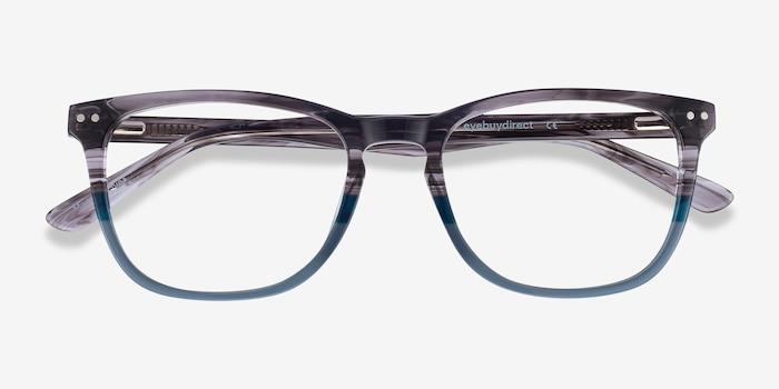 Gato Gray Striped Acétate Montures de Lunette de vue d'EyeBuyDirect, Vue Rapprochée