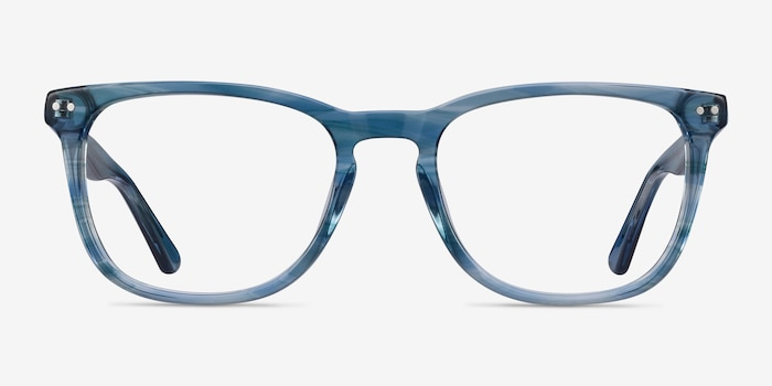 Gato Blue Striped Acetate Eyeglass Frames from EyeBuyDirect, Front View