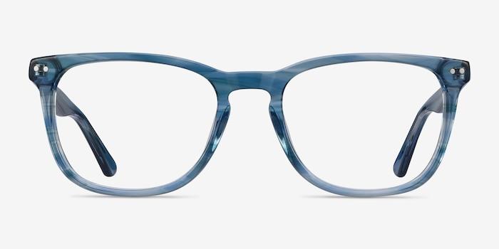 Gato Blue Striped Acétate Montures de Lunettes d'EyeBuyDirect, Vue de Face