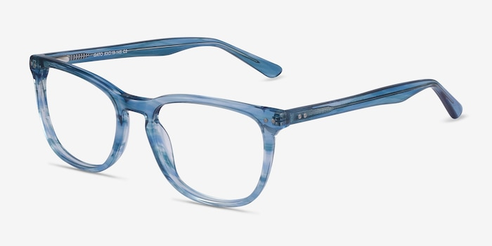 Gato Blue Striped Acetate Eyeglass Frames from EyeBuyDirect, Angle View