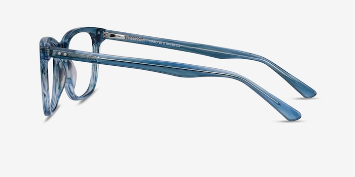 Gato Blue Striped Acetate Eyeglass Frames from EyeBuyDirect, Side View
