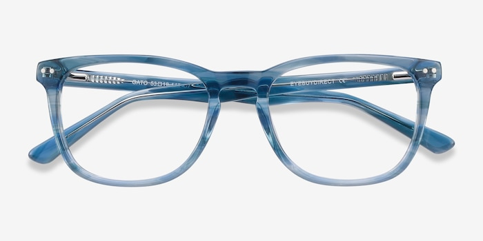 Gato Blue Striped Acetate Eyeglass Frames from EyeBuyDirect, Closed View