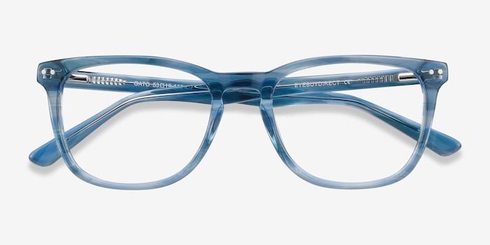 Gato Blue Striped Acétate Montures de Lunettes d'EyeBuyDirect, Vue Rapprochée