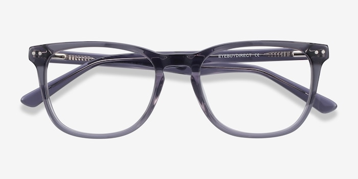Gato Gray Acetate Eyeglass Frames from EyeBuyDirect, Closed View