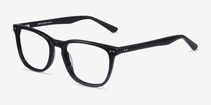 Gato Black Acetate Eyeglass Frames from EyeBuyDirect, Angle View