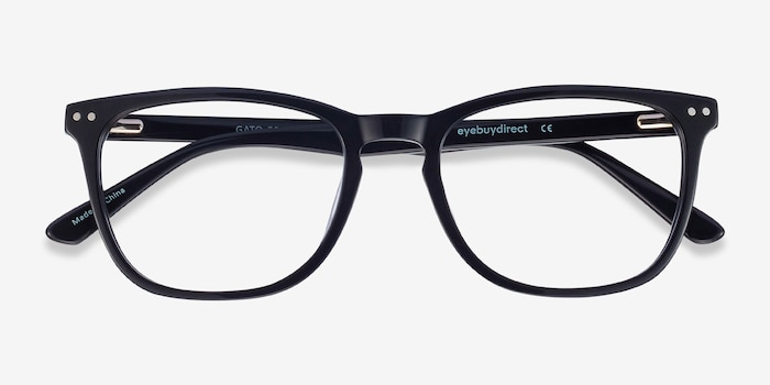 Gato Black Acetate Eyeglass Frames from EyeBuyDirect, Closed View