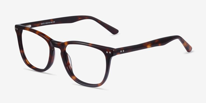 Gato Tortoise Acetate Eyeglass Frames from EyeBuyDirect, Angle View
