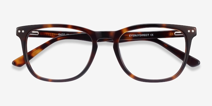 Gato Tortoise Acetate Eyeglass Frames from EyeBuyDirect, Closed View