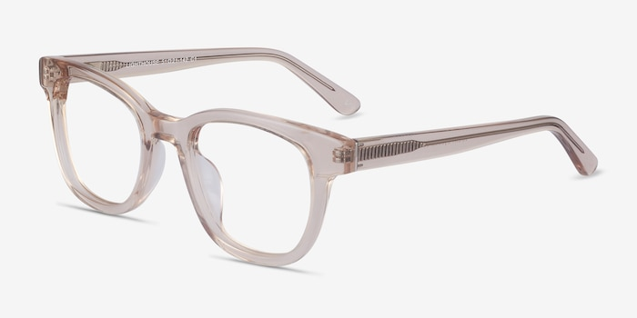 Lighthouse Champagne Acetate Eyeglass Frames from EyeBuyDirect, Angle View