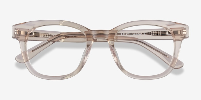Lighthouse Champagne Acetate Eyeglass Frames from EyeBuyDirect, Closed View