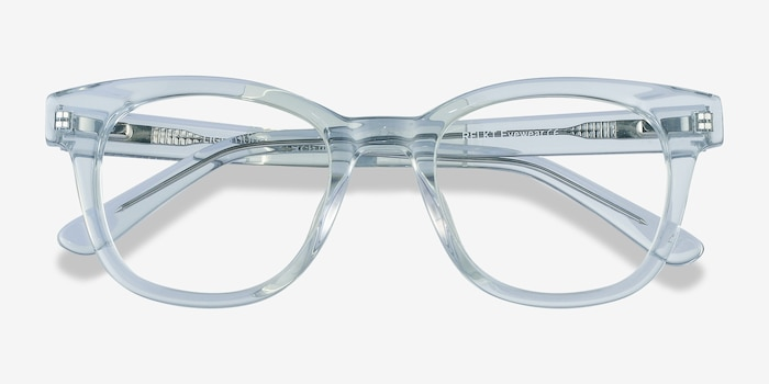 Lighthouse Clear Blue Acetate Eyeglass Frames from EyeBuyDirect, Closed View