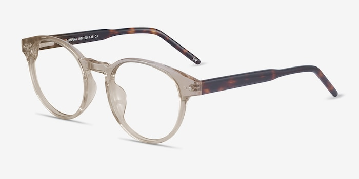Manara Champagne Acetate Eyeglass Frames from EyeBuyDirect, Angle View