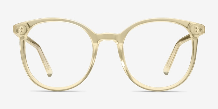 Noun Yellow Acetate Eyeglass Frames from EyeBuyDirect, Front View