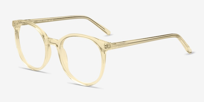 Noun Yellow Acetate Eyeglass Frames from EyeBuyDirect, Angle View