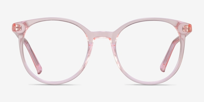 Noun Pink Acetate Eyeglass Frames from EyeBuyDirect, Front View