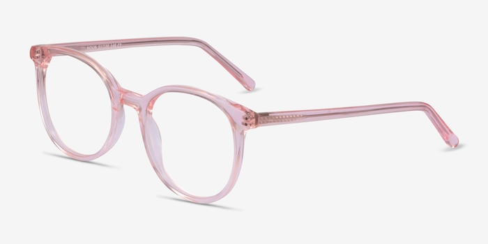 Noun Pink Acetate Eyeglass Frames from EyeBuyDirect, Angle View