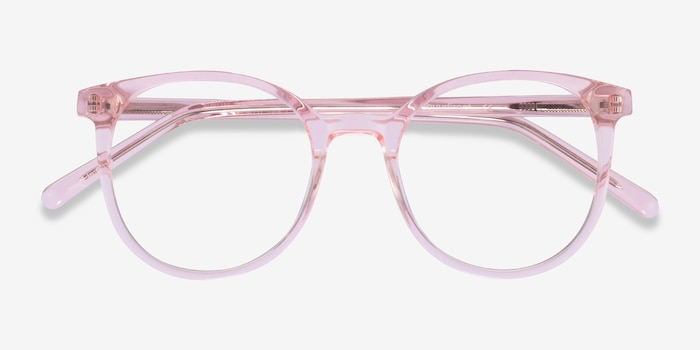 Noun Pink Acetate Eyeglass Frames from EyeBuyDirect, Closed View