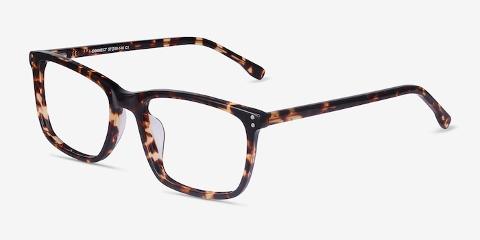 Connect Tortoise Acetate Eyeglass Frames from EyeBuyDirect, Angle View