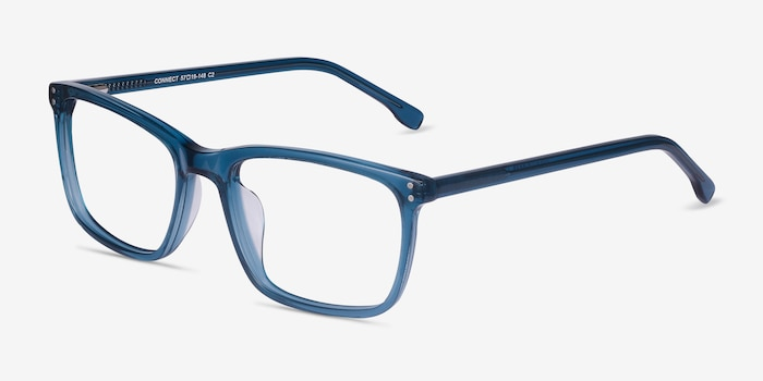 Connect Green blue Acetate Eyeglass Frames from EyeBuyDirect, Angle View